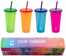 MANNA Color Changing Plastic Cups Tumblers with Straw, Set of 12