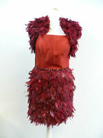 Carla Ruiz Red Feather Dress and Jacket Set - Size 8 - Box62 21 C