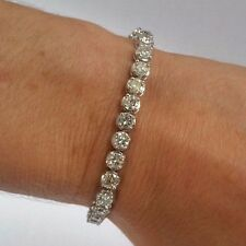 10.5 ct G SI2 natural diamond illusion 4 prong buttercup bracelet 14k white gold