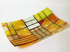 "Games of Colors: A decorative fused glass plate ""A Gentle color mix"" - Yellow"