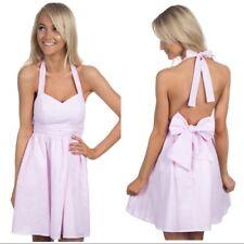Lauren James The Stratton Bow Dress Pink Coral Seersucker XS