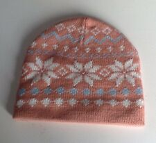 Beanie Hat Pink With Snow Flakes Size s/m .