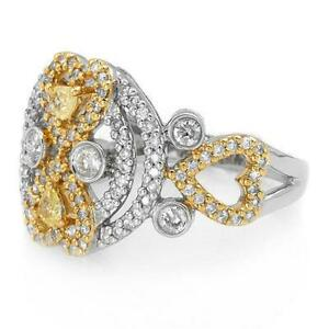 Luxurious 18K Two Tone Gold Ring With 0.90ctw Clean Diamonds, Size7. New