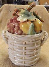 VINTAGE COOKIE JARS--FRUIT IN A BASKET COOKIE JAR--ESTATE SALE--GREAT PATINA!