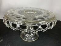 """McKee #2487 Clear Plymouth Thumbprint Pedestal Cake Stand 7"""" x 12"""" w/ Rum Well"""