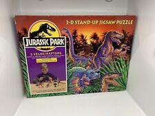 Jurassic Park 3D Stand Up Jigsaw Puzzle Velociraptors Vintage 1992 COMPLETE