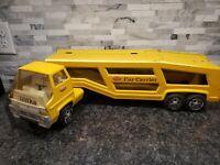"Tonka Car Carrier Semi Truck Houler Yellow 27"" USA Pressed Steel 1960 1970 L18"