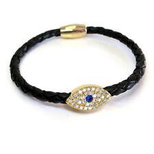 Sapphire Gold Evil Eye Leather Bracelet, More Colors