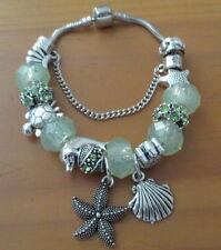 21cm Beautiful Green Ocean Starfish Silver Plated European Charm Bracelet