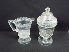 Antique 1870s Adams & Co. Wildflower EAPG Glass Creamer & Covered Sugar