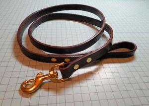 "Full Grain Leather Dog / Pet Leash_Lead, Handmade, 3/4"" x 5 feet, Brass Snap"