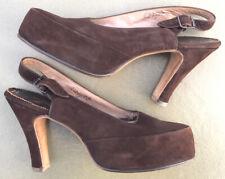 Vintage Brown Suede Platform Sling Back Hi Heel - 8.5 Aaaa Original James Kean