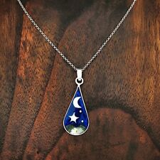 Artisan Abalone Blue Night Sky Stars and Crescent Moon Pendant from Taxco Mexico