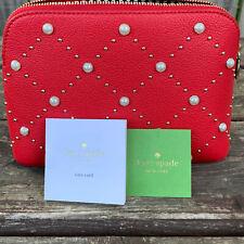 NWT Kate Spade Hayes Street Pearl Small Briley Cosmetic Bag Royal Red PWRU7061