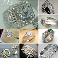 925 Silver White Topaz Band Ring Woman Men Jewelry Wedding Party Gift Size 6-10