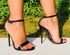 "5"" BARELY THERE SANDALS very high heel patent stiletto black white red UK4-14"