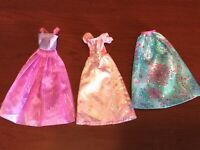 Lot of 3 Doll Clothes For Barbie & Other Dolls: Gown, Long Dress, Fancy Dress