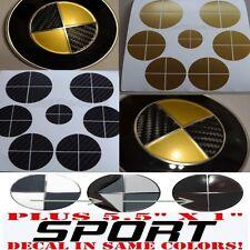 BLACK CARBON FIBER & GOLD Sticker Overlay +SPORT FULL SET Fit All BMW Emblems