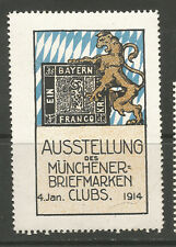 Germany 1914 Munich Stamp Clubs Exhibition poster stamp/label
