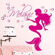 Wandtattoo Kinderzimmer Meerjungfrau mit Wunschnamen Nixe Mädchen personalisiert