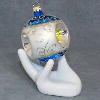 "Christmas Ornament KURT ADLER KSA Glass Ball TRIPLE INDENT 2.5"" Blue USA SELLER"