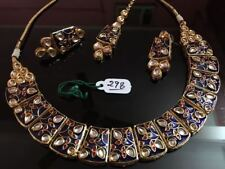 Blue Fashion Meenakari Kundan Party Wear Bollywood Necklace Jewelry Set Latest E
