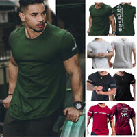Mens Gym Muscle Bodybuilding Cotton Sport Fit Fitness Casual T-shirt Slim Tee
