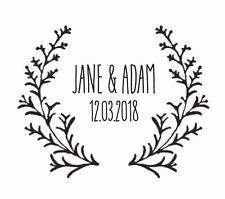 "WEDDING STAMP, PERSONALISED BESPOKE INITIALS & DATE 2"" or 50mm woodland"
