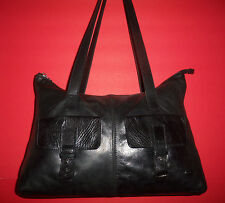 THE TREND Black Leather Shoulder Bag - MADE IN ITALY