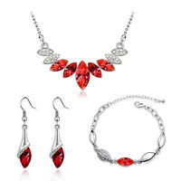 Red & Silver Crystal Bridal Jewellery Set Drop Earrings Bracelet & Necklace S651