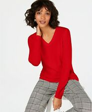 Charter Club Pure Cashmere  New Red Amore V-Neck Sweater XL