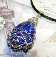 UNIQUE HAND-CRAFTED SILVER-WIRE-WRAPPED SODALITE PENDANT   2 INCHES