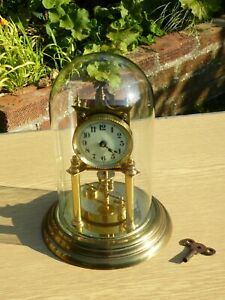 Kieninger & Obergfell Anniversary Clock in Glass Dome, Mantle Clock