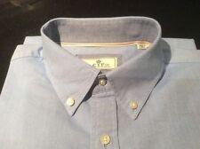 CTF Shirt L USA 42 Blue Single Cuff Cortefiel Cotton Pocket  Button Collar