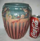 """""""BEST!!""""  ANTIQUE ROSEVILLE USA CHERRY BLOSSOM ART DECO GARDEN POTTERY ART VASE"""