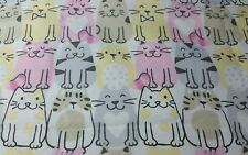 """ADORABLE! ROWS OF SMILING KITTY CATS COTTON FLANNEL FABRIC REMNANT 22"""" X 44"""" W"""