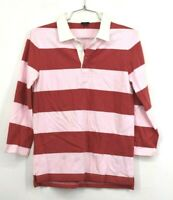J Crew Womens Pink Red 3/4 Sleeves Spread Color Rugby Stripe Polo Shirt XS