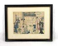 Antique Isoda Koryusai (1735-1790) Artist Japan Woodblock Print Nude Public Bath