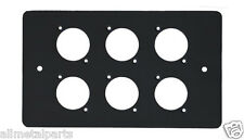 6  XLR Hole Black Coated Double Two Gang Cover Face Plate Steel Panel