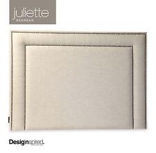 JULIETTE BRASS Stud Upholstered Bedhead for Queen Size Ensemble - ALMOND