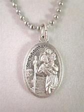 "Catholic Italian St Christopher Medal Pendant Necklace 24"" Ball Chain + BONUS"