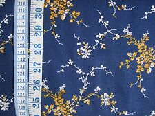 Penny Rose Cheddar & Indigo fabric 100% cotton Navy + white/yellow floral per FQ