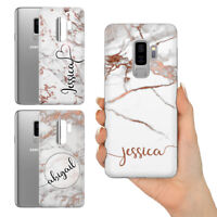 PERSONALISED ROSE GOLD MARBLE INITIALS NAME HARD PHONE CASE FOR SAMSUNG S10 + e