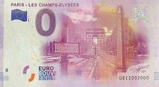 BILLET 0  EURO PARIS CHAMPS ELYSEES FRANCE   2016 NUMERO 2000
