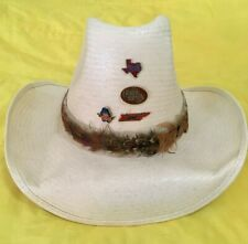 Charlie Daniels Straw Cowboy Hat W/ Feather Band And 4 Pins - Xl 7 1/2-7 5/8