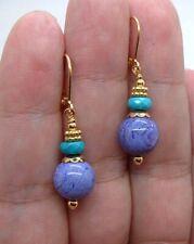 Dangling Purple Chaorite W. Blue Turquoise Gold Earrings   A1109