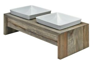 Bowsers Pet Artisan Double Wood Feeder Fossil Bamboo White