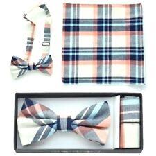 New Men's Pre Tied Bow Tie & Pocket Square Hankie Handkerchief Plaid Checkers