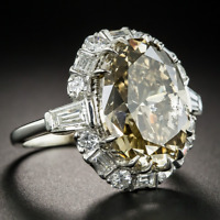 Vintage 925 Silver Citrine Wedding Engagement Gemstone Bridal Gift Band Ring !!