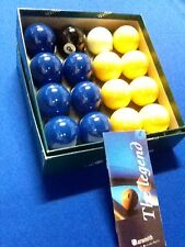 """SUPERPOOL BELGIAN ARAMITH BLUE & YELLOW 2"""" Pool Balls with 1""""7/8 Cue Ball"""
